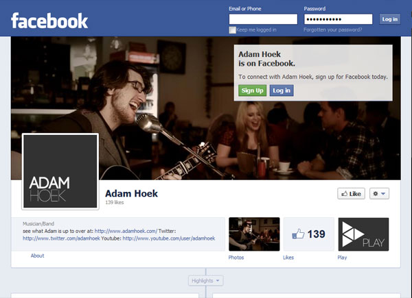 Facebook Fanpage Screenshot